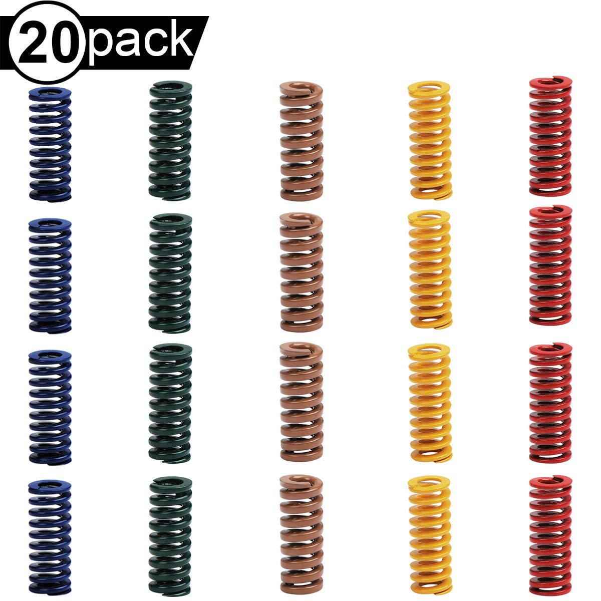 Youmile 20 ST/ÜCKE Druckform Matrizenfedern 8mm OD 20mm L/änge 5 Farbe 3D Drucker Motherboard Zubeh/ör F/ür 3D Drucker CR-10 CR-10S Ender