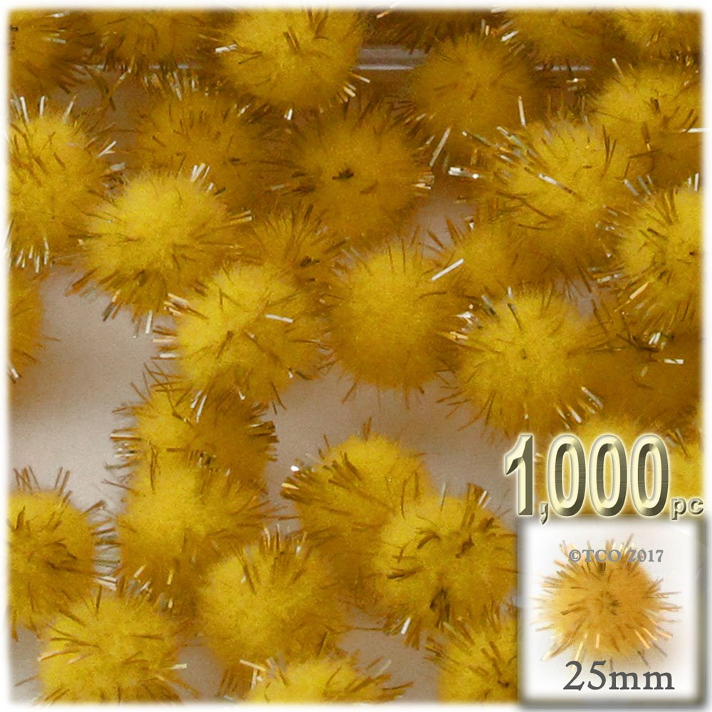 The Crafts Outlet Chenille Sparkly Pom Poms, Gold porcupine, 1.0-inch (25-mm), 1000-pc, Yellow by The Crafts Outlet