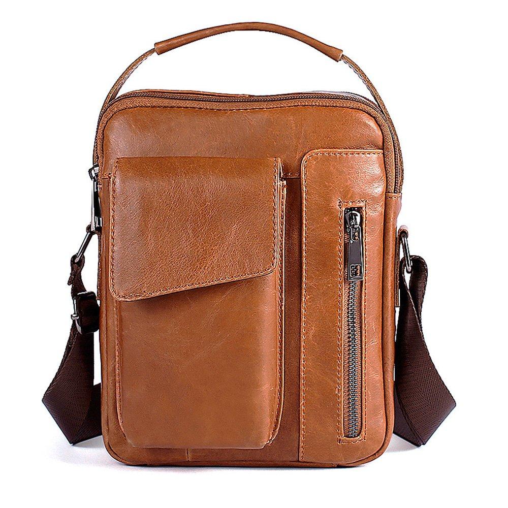 Echtes Leder Klein Umhängetasche Herren Tasche Reisen Mini Schultertasche Handytasche Männer Mini Messenger Bag (Braun-a) GENOLD