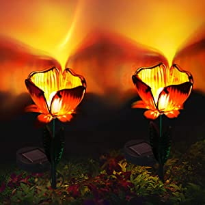 Mokylor Solar Glass Flower Stakes,2 Pack Waterproof Solar Powered Garden Lights,Landscape Decorative Warm White LED Light Flower Decor for The Driveway Yard or Lawn,Sunset Orange