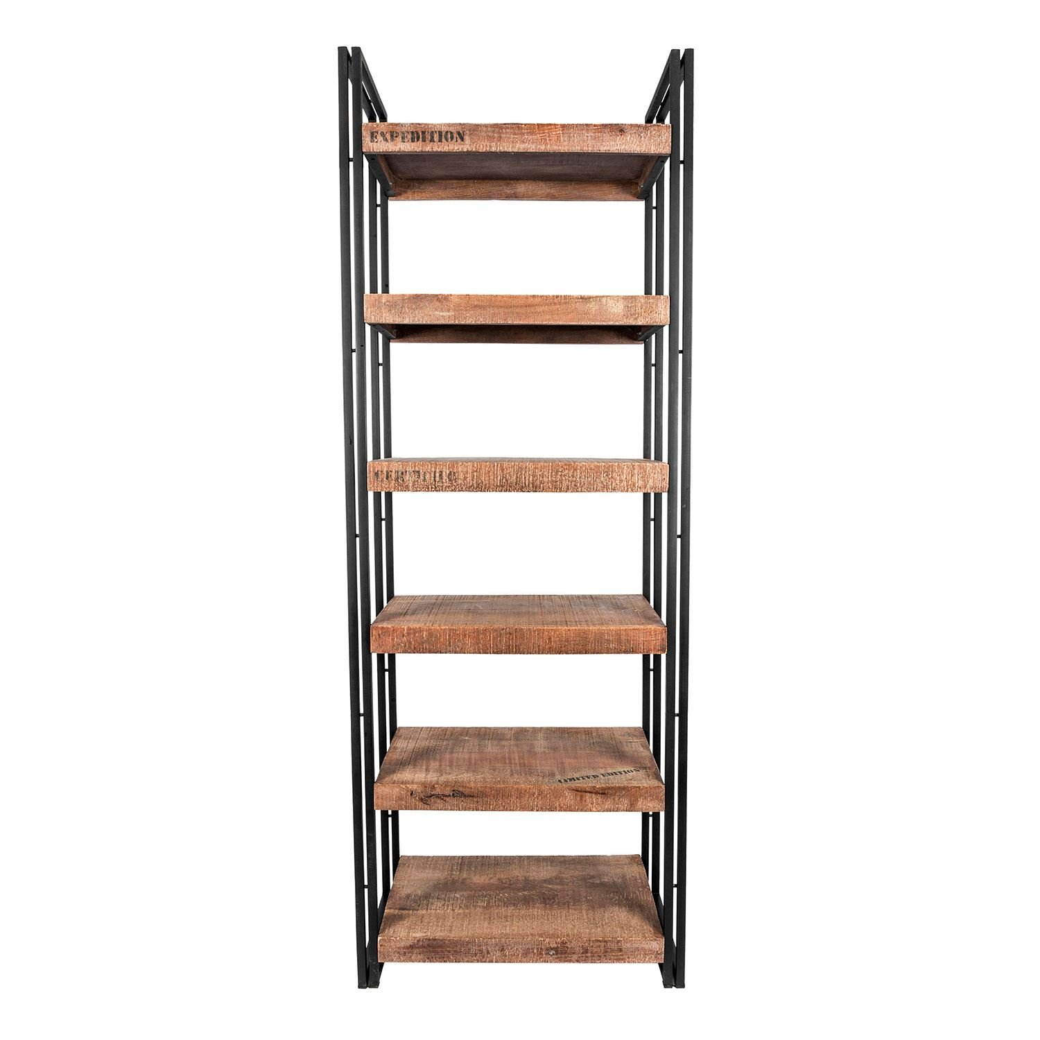 Homescapes Columbus Tall Bookshelf Or Display Unit - Industrial Reclaimed  Wood Furniture Versatile Bookcase With Six