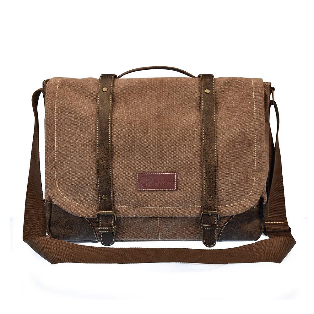 15'' Laptop Messenger Bag for Men Leather Messenger Bag Briefcase Shoulder Sling Laptop Bag Brown 261