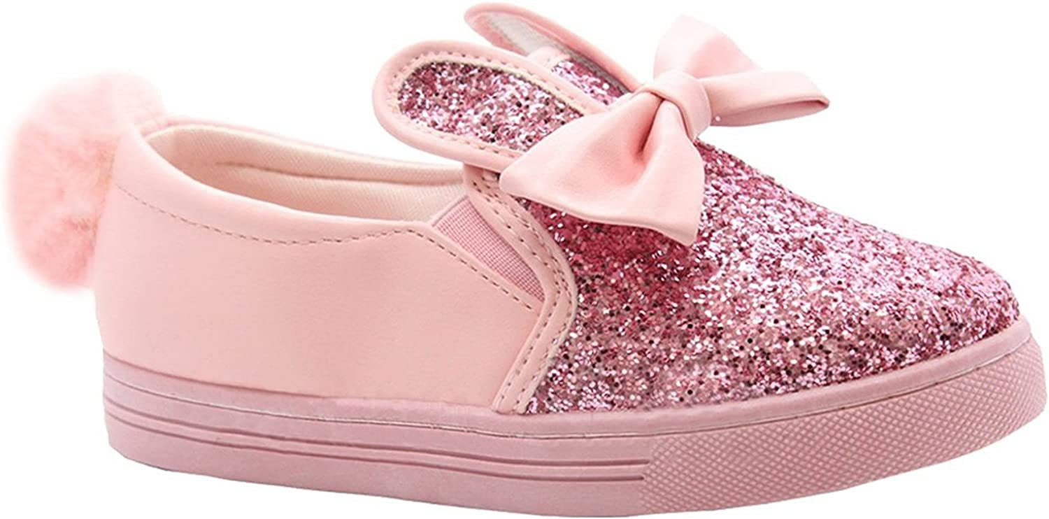 shelikes Kids Girls Glitter Rabbi Ears Slip on Shoes