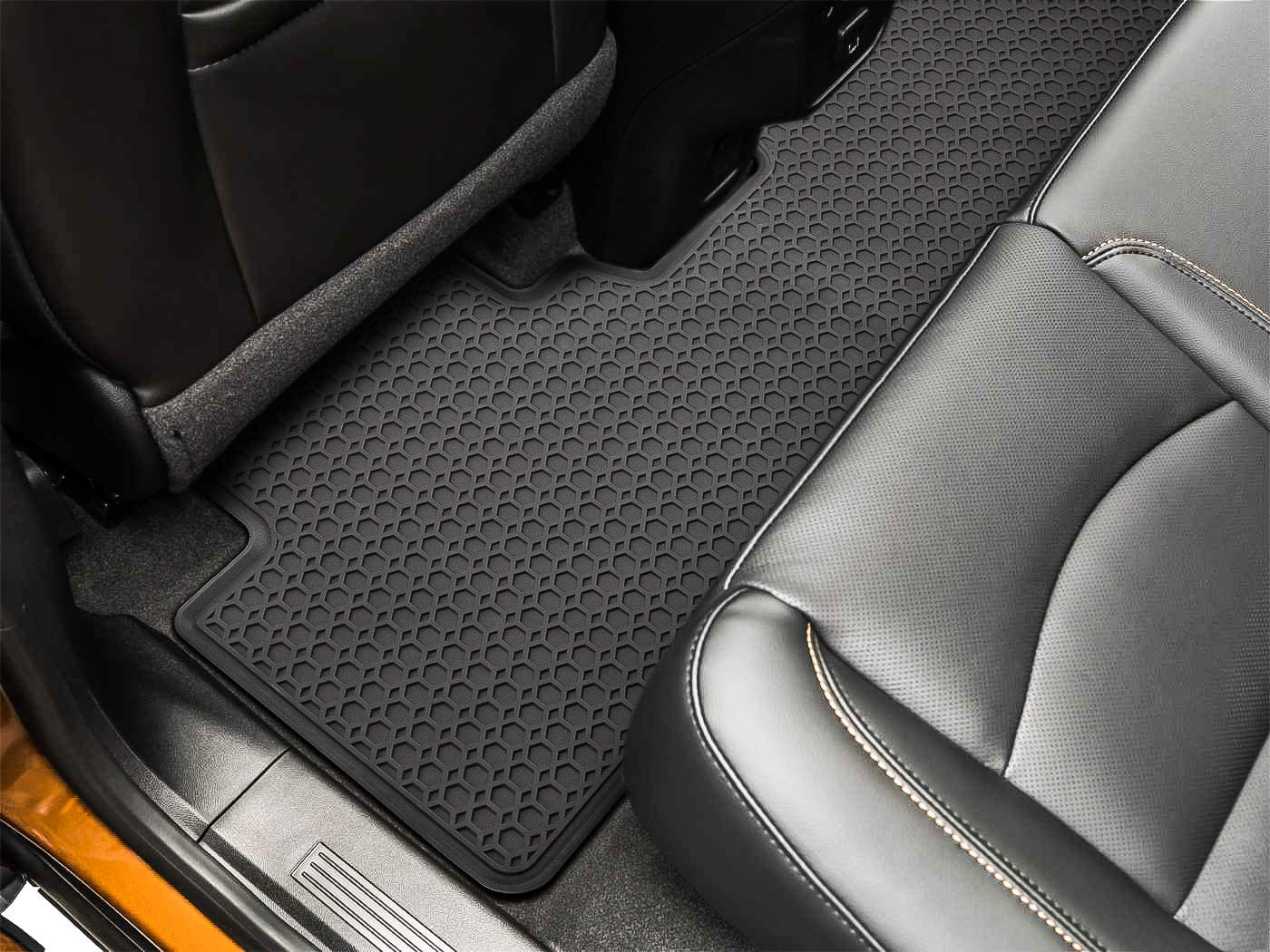 Black 3PCS E-cowlboy Floor Mat for Chevrolet Equinox 2018-2020 Heavy Duty Rubber Front+Rear Car Liner Carpet All Weather Custom Fit Waterproof Odorless