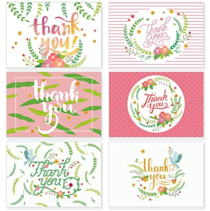 Amazon Com 24 Pack Thank You Cards Notes 6 Cute Floral Pink