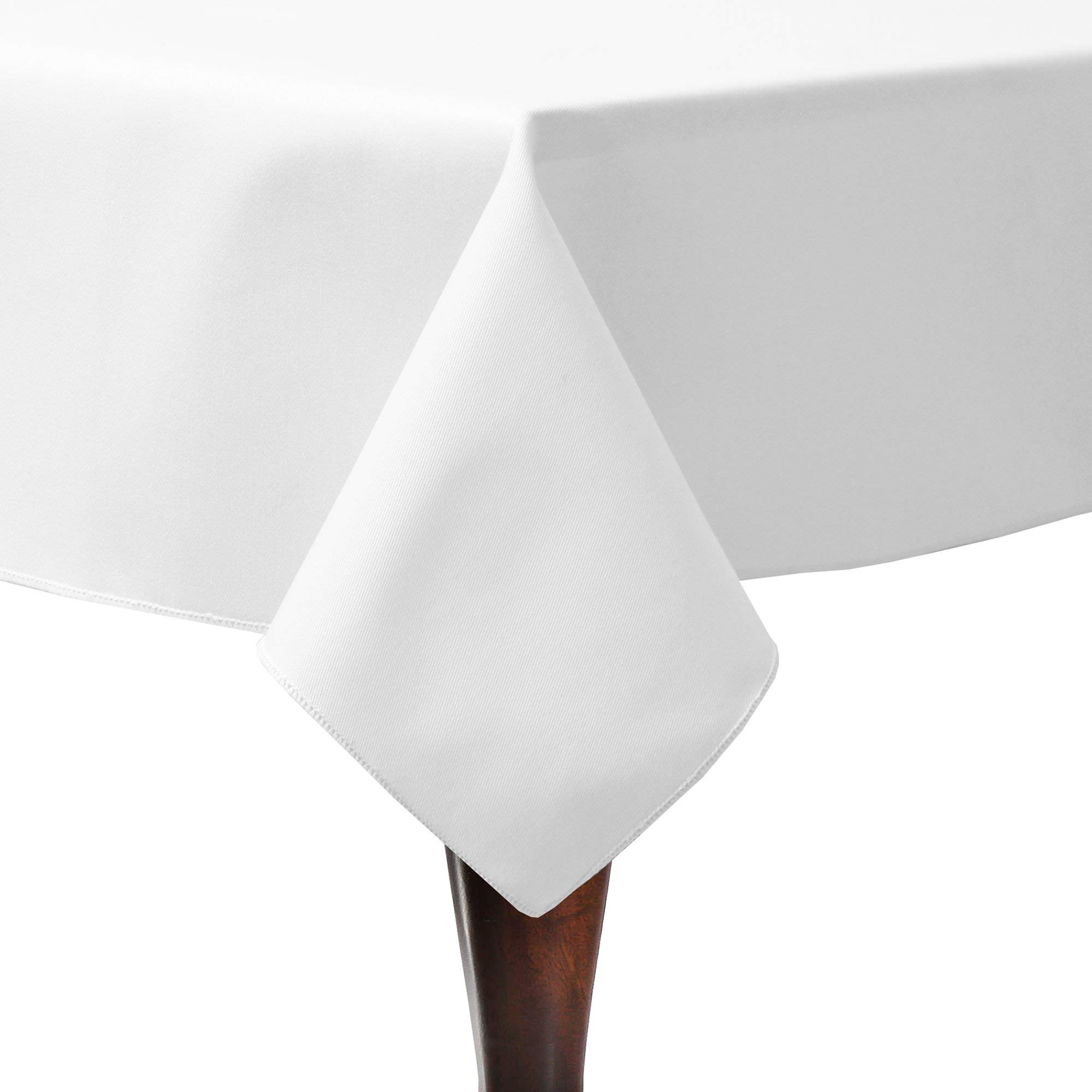 Ultimate Textile -2 Pack- Poly-Cotton Twill 60 x 60-Inch Square Tablecloth - for Restaurant and Catering, Hotel or Home Dining use, White