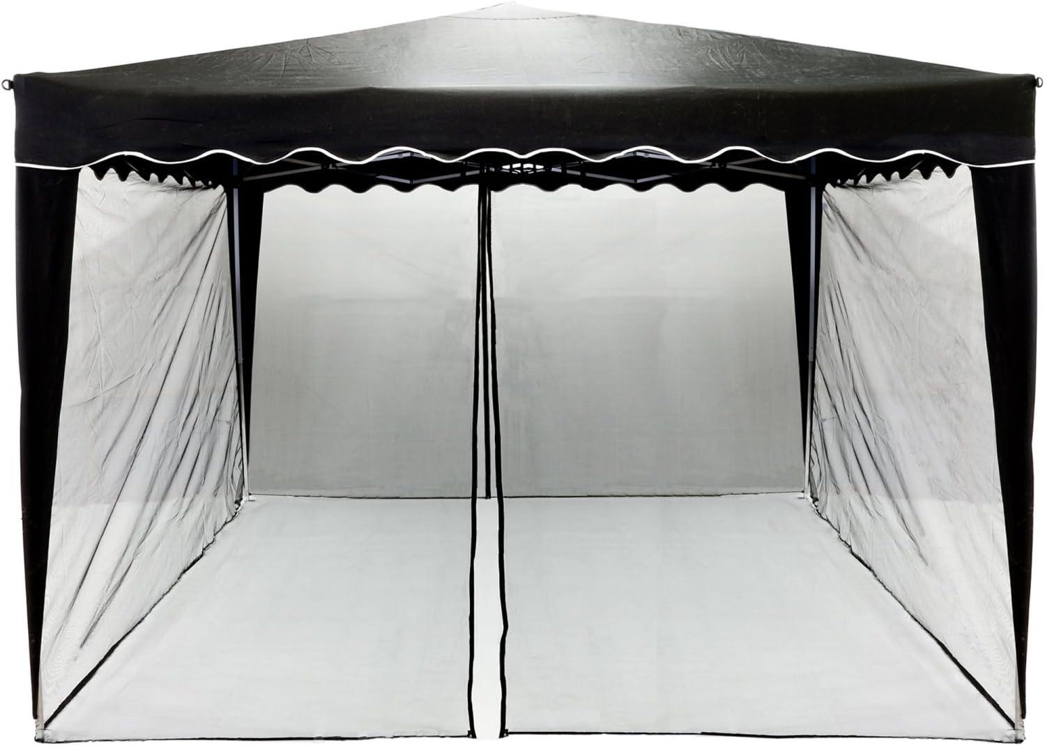 INSTENT Mosquitera para Pabellón de 3x3, la elección de los Colores: Negro o Blanco, Cremallera 2X con Tiras de Velcro para Sujetar el Panel Lateral ...