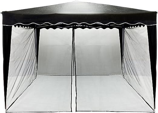 INSTENT Mosquitera para Pabellón de 3x3, la elección de los Colores: Negro o Blanco, Cremallera 2X con Tiras de Velcro para Sujetar el Panel Lateral para Gazebo: Amazon.es: Jardín