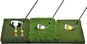 WhiteFang Golf Mat Tri-Turf Fairway Rough and Driving, Golf Hitting Mat Grass with Tees and Balls for Indoor Outdoor