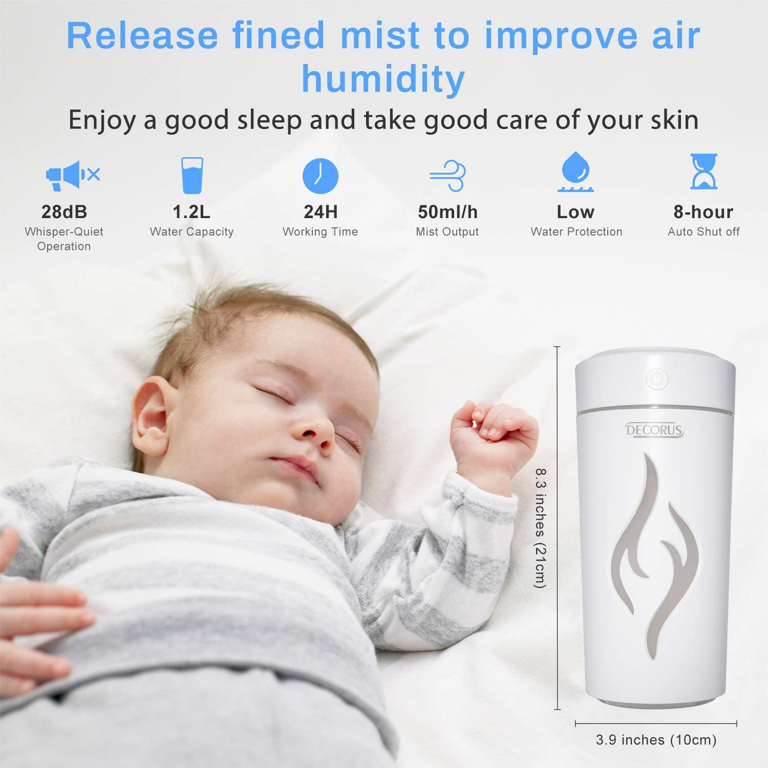 Humidifier for Bedroom Cool Mist Humidifiers Diffuser Top Fill 1.2 L Water Tank Ultra Quiet Air Humidifier Lasts up to 24 Hours with 7 Colors Night Lights Changing Easy to Clean White
