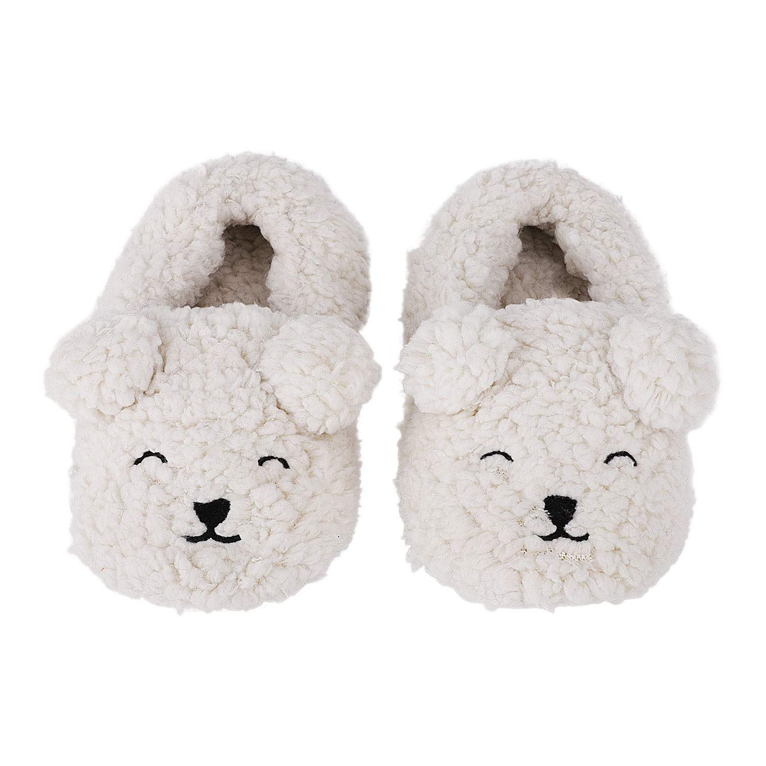 Greenery-GRE Warm Fleece Indoor Slippers for Toddler Kids Cartoon Animal Soft Cozy Booties Non-Slip Plush Winter House Shoes Ankle Boots