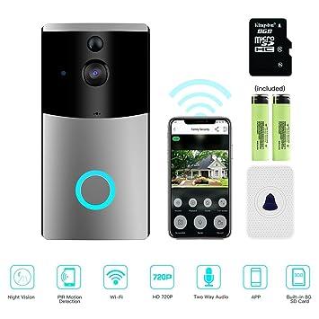 MASCARRY - Timbre de vídeo para puerta, cámara de seguridad HD 720P, tarjeta de 8 G integrada, ...