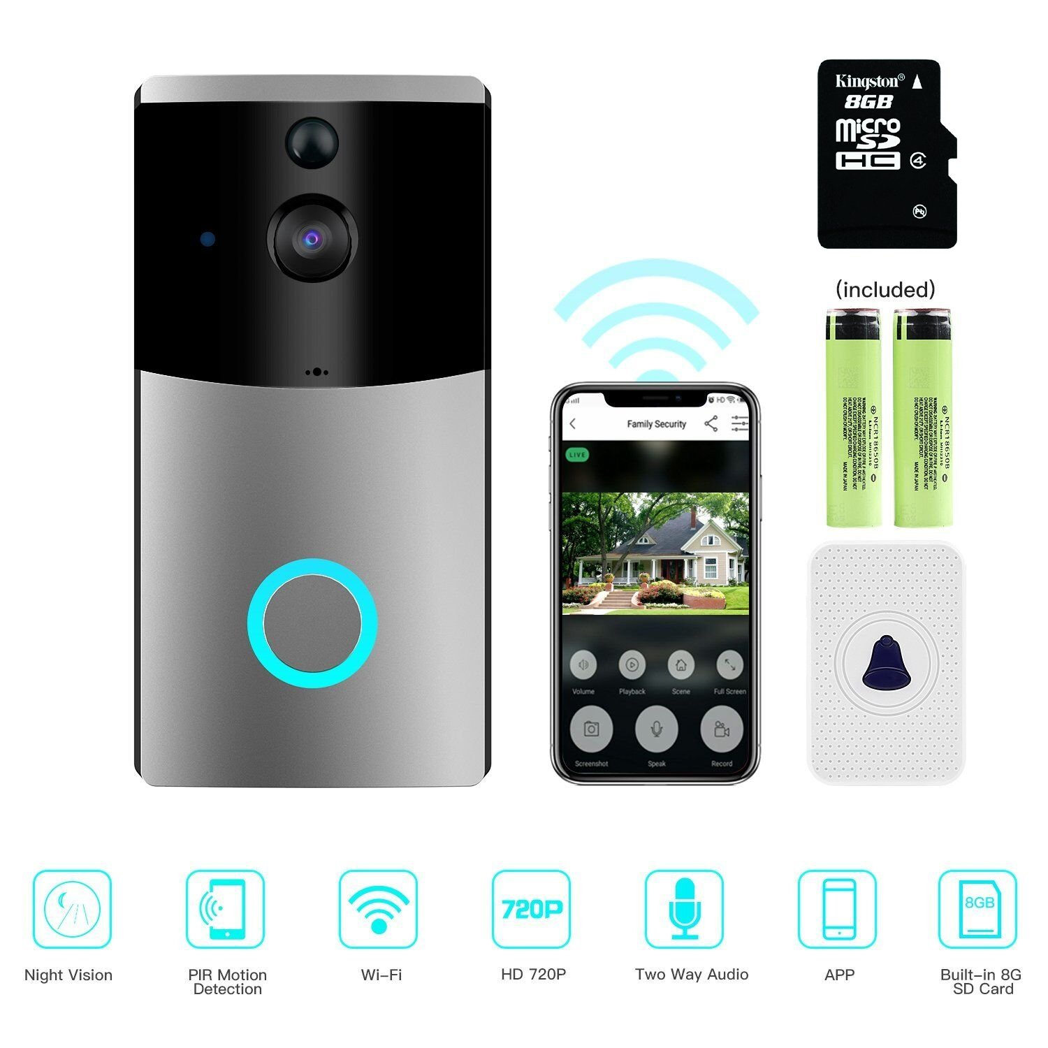 Video Doorbell, Myriann Wi-Fi Smart Doorbell, 720P HD Door Security Camera, Built-in 8G Card, Support Motion Detection, IR Night Vision, 2-Way Audio and App Control for IOS and Android