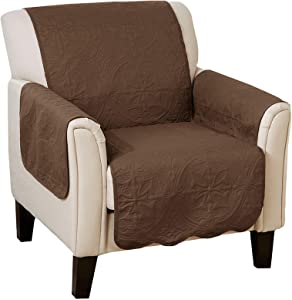 Great Bay Home Medallion Stitched Solid Furniture Protector. Stain Resistant Durable Furniture Protector. Elenor Collection. (Chair, Chocolate/Taupe)