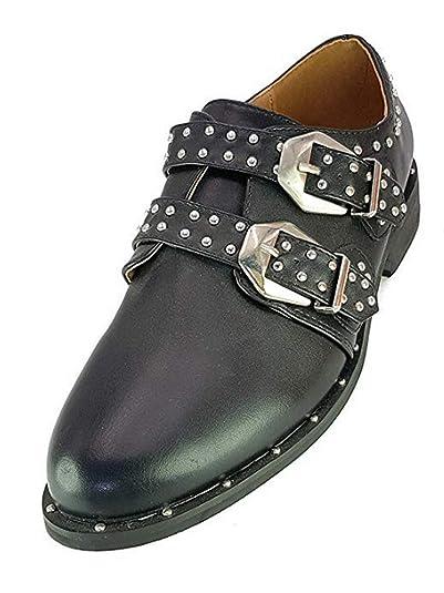 Scarpe Francesine Donna Stringate Tacco Basso cm 3 tg 40 Colore Nero Eco  Pelle Modello con Fibbie  Amazon.it  Scarpe e borse d2a20bd85c5
