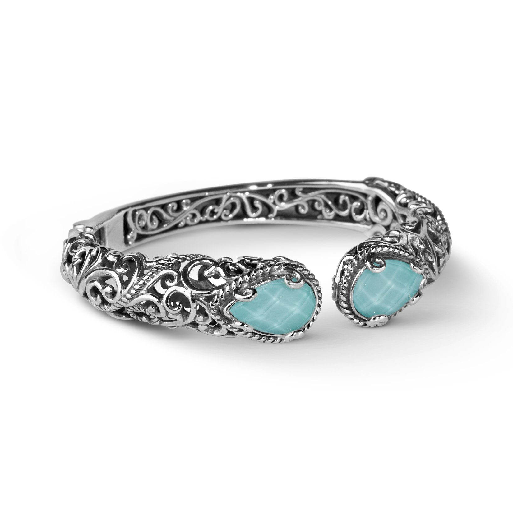 Carolyn Pollack Signature Sterling Silver Turquoise Doublet Hinged Cuff Bracelet, Small