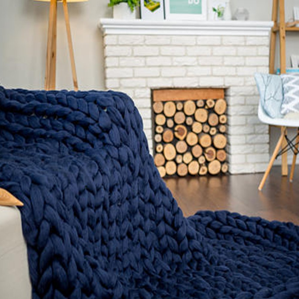 40x79in Merino Wool Blanket,Xmas Gift Navy Chunky Knit Blanket,Super Chunky Blanket,Giant Knitted Merino Wool Blanket,Cozy Throw