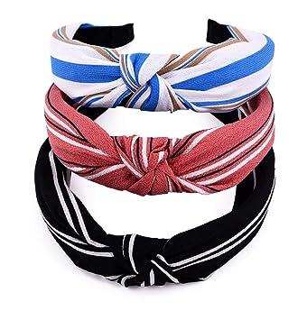 Women Bow Knot Striped Hairband Headband Wide Hair Hoop Turban Hair Accessory