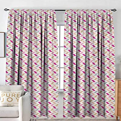 "NUOMANAN Blackout Curtains Zig Zag,Bold Short Cut Skewed Lines Herringbone Style Chevron Tiling in Soft Pastel Colors,Multicolor,Rod Pocket Drapes Thermal Insulated Panels Home décor 84""x84"": Home & Kitchen"
