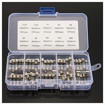 100pcs Fuse Assorted Kit Set 5x20mm Quick Blow Glass Tube Fast-blow Glass USA