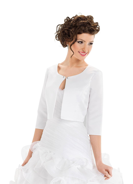 New Ladies Fashion Wedding Satin Shrug Bridal Bolero Jacket Coat 3/4 Sleeves