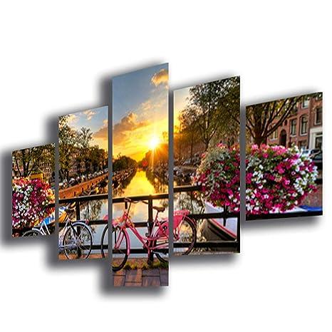 Quadro Moderno soggiorno AMSTERDAM città citta 100x70 cm 5 ...