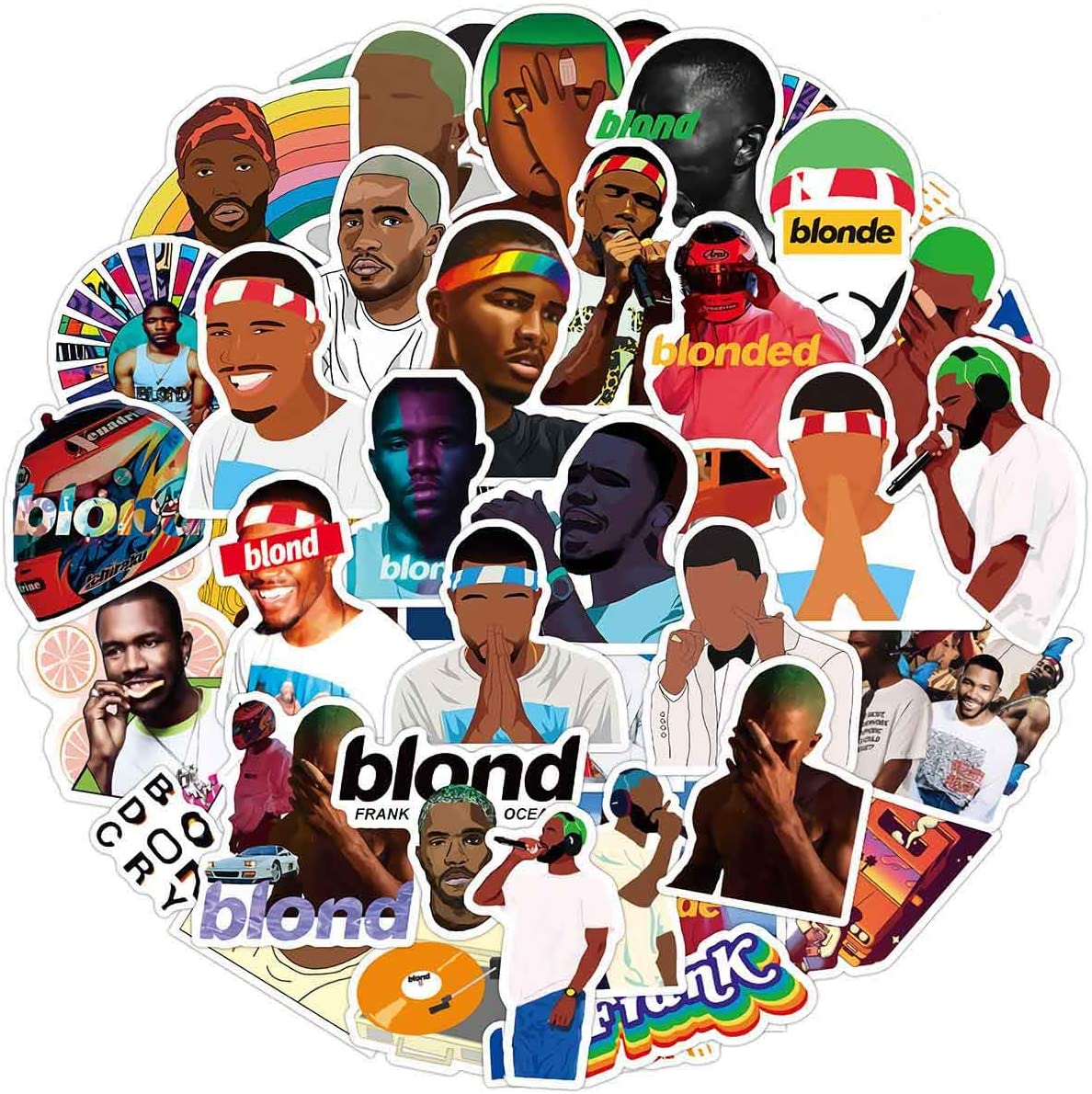 50 Pcs Hip Hop Singer Frank Ocean Blonde Stickers, Waterproof Durable Trendy Vinyl Stickers for Laptop Decals Hydro Flask and Water Bottles, Teens and Adults Gifts