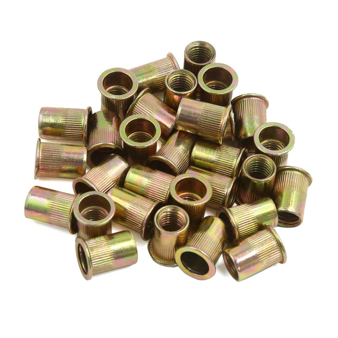 uxcell 30 Pcs M10.5 Bronze Tone Carbon Steel Thread Flat Head Rivet Nut Nutserts