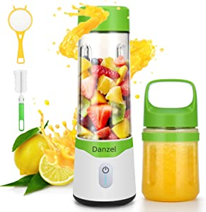 Danzel Mini Blender, Portable Blender,Blender for Shakes and Smoothies, Personal Blender,BPA Free blenders, Travel Blender for Home Sports Office Gym and Outdoors (Double Juicer Cup)
