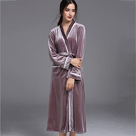 Pajamas Women Bathrobe Adults V-neck Coral Velvet Ladies Hotel Spa Home  Robes Warm Winter a6a1507d6