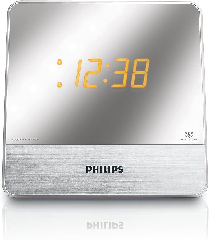 Philips AJ3231 Radio réveil avec tuner FM, double alarme, luminosité réglable, batterie de secours, configuration facile, Argent