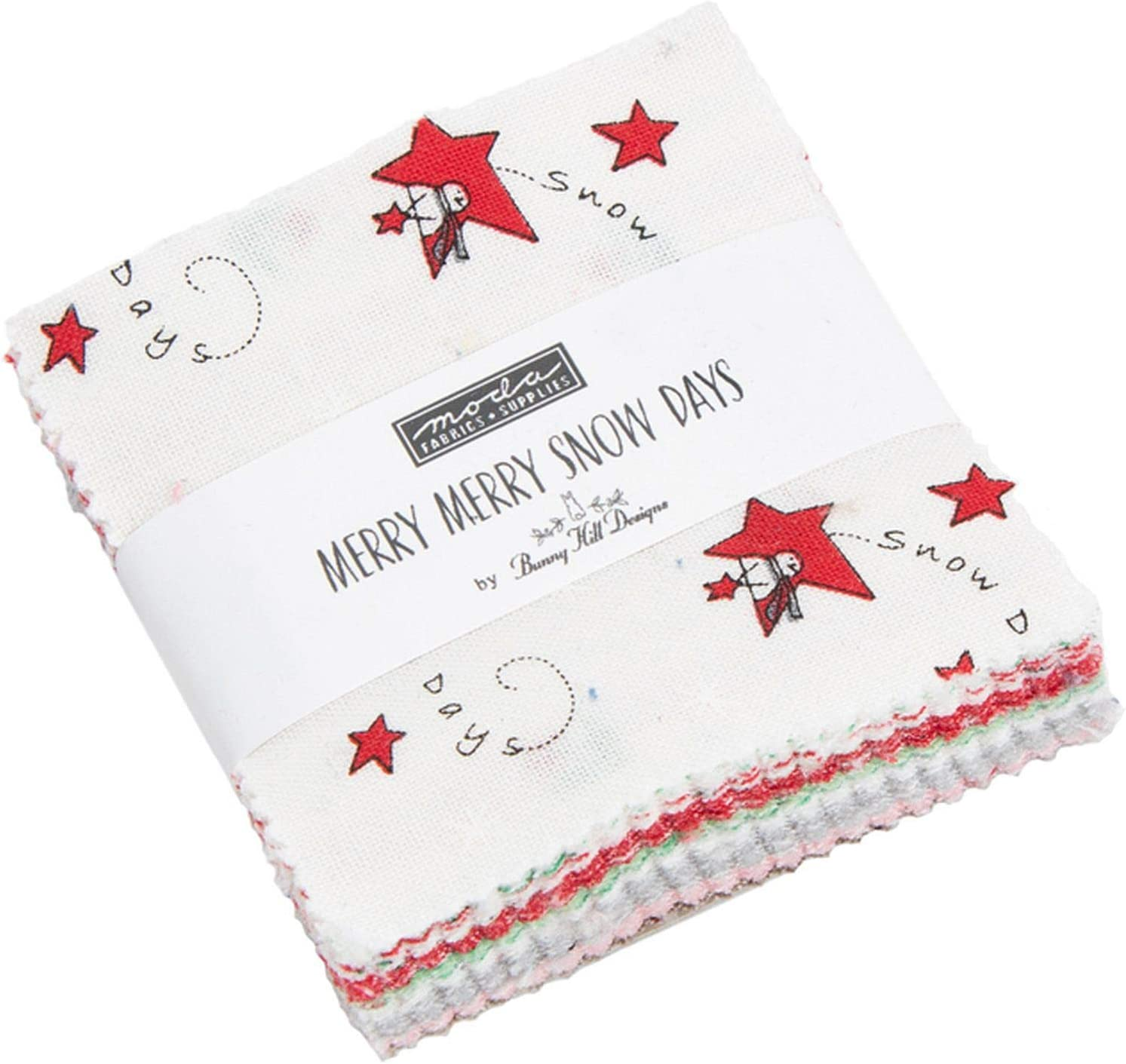 Merry Merry Snow Days Mini Charm Pack by Bunny Hill Designs; 42-2.5 Inch Precut Fabric Quilt Squares