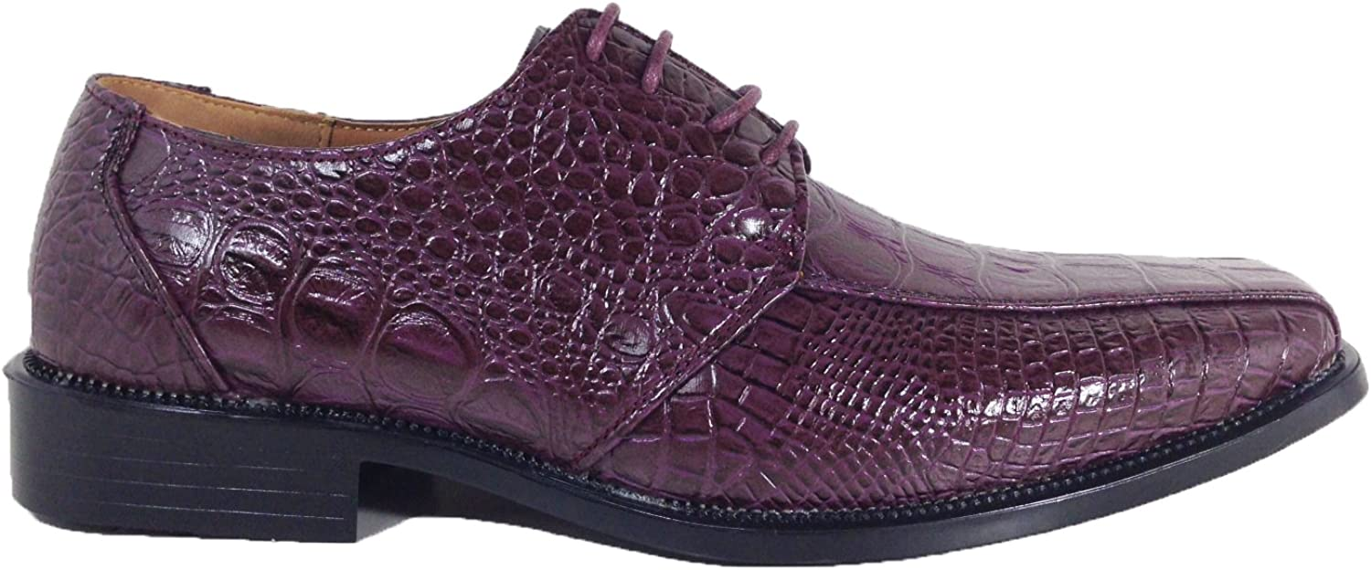 Enzo Romeo Gator3N Mens Alligator Crocodile Print Oxfords Fashion Lace Up Dress Shoes