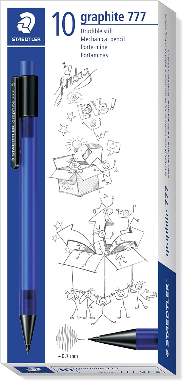 Staedtler Staedtler 777/3/Mechanical Pencil Graphite Lead Diameter Filled with B Refills 0.5/mm Blue Barrel Box of 10/Black