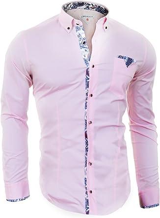 Cipo & Baxx Camisa Rosa de los Hombres con la Perla de Botones y Acabados con Dibujos