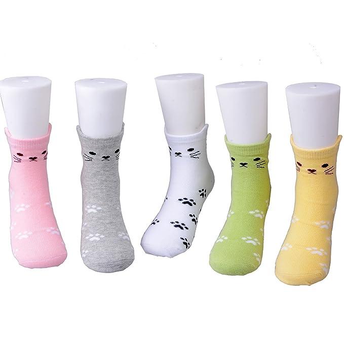 Maiwa Baumwolle Neuheit Katzen Tier keine Naht Socken 5 Pack f/ür M/ädchen Kinder