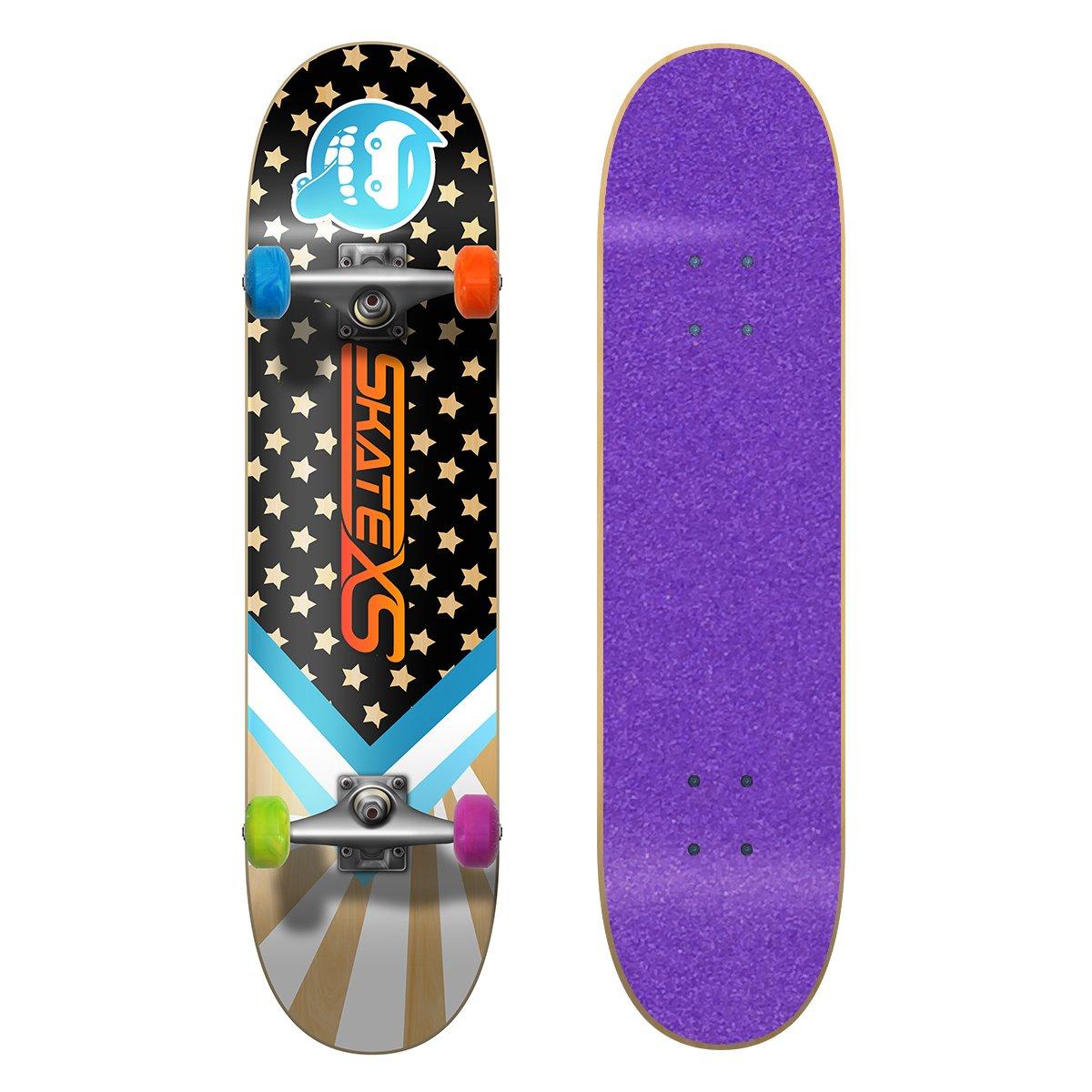 (税込) SkateXS Tape 初心者 スターボード/ ストリート スケートボード B01MQS5ZL3 7.4 Multi-Color x 30 (Ages 11-12)|Purple Grip Tape/ Multi-Color Wheels Purple Grip Tape/ Multi-Color Wheels 7.4 x 30 (Ages 11-12), 掛け時計 専門店 allclocks:4359bc92 --- a0267596.xsph.ru