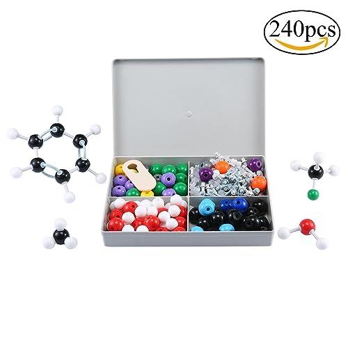 niceEshop(TM) Kit Modèle Moléculaire, Modèle de Chimie Organique et Inorganique, Kit de 240 Pcs Modèle Moléculaire pour Education d'Université (Multicolore, 240 Pcs)