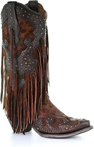 leopard booties with fringe