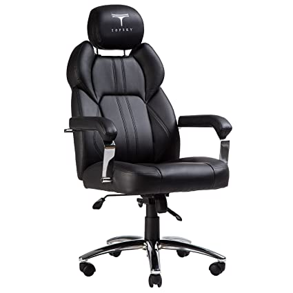 TOPSKY Executive Office Chair Large Leather Chair High Back With Adjustable  Headrest(Black)
