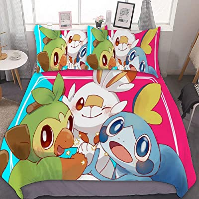 Poke-mon Twin Bedding Duvet Cover Set,Sword Shield Starter Poke-mon (1),3 Pieces Bedding Set,With Zipper Closure and 2 Pillow Shams,Cute Boys Girls Comforter Sets,Luxury Guestroom Decorations: Kitchen & Dining
