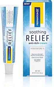 Preparation H Soothing Relief Anti-Itch Cream, 1 Tube, 0.9 Ounces, Cream with Hydrocortisone for Butt Itch Relief