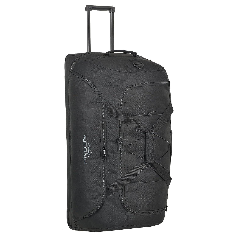 Bolsa de viaje XXL de Keanu, trolley 120,bolsa 100,135litros de capacidad, plegable, compartimento para zapatos y ropa lavada, cordón, compartimento de dirección, Black Jacquard (Negro) - 400400