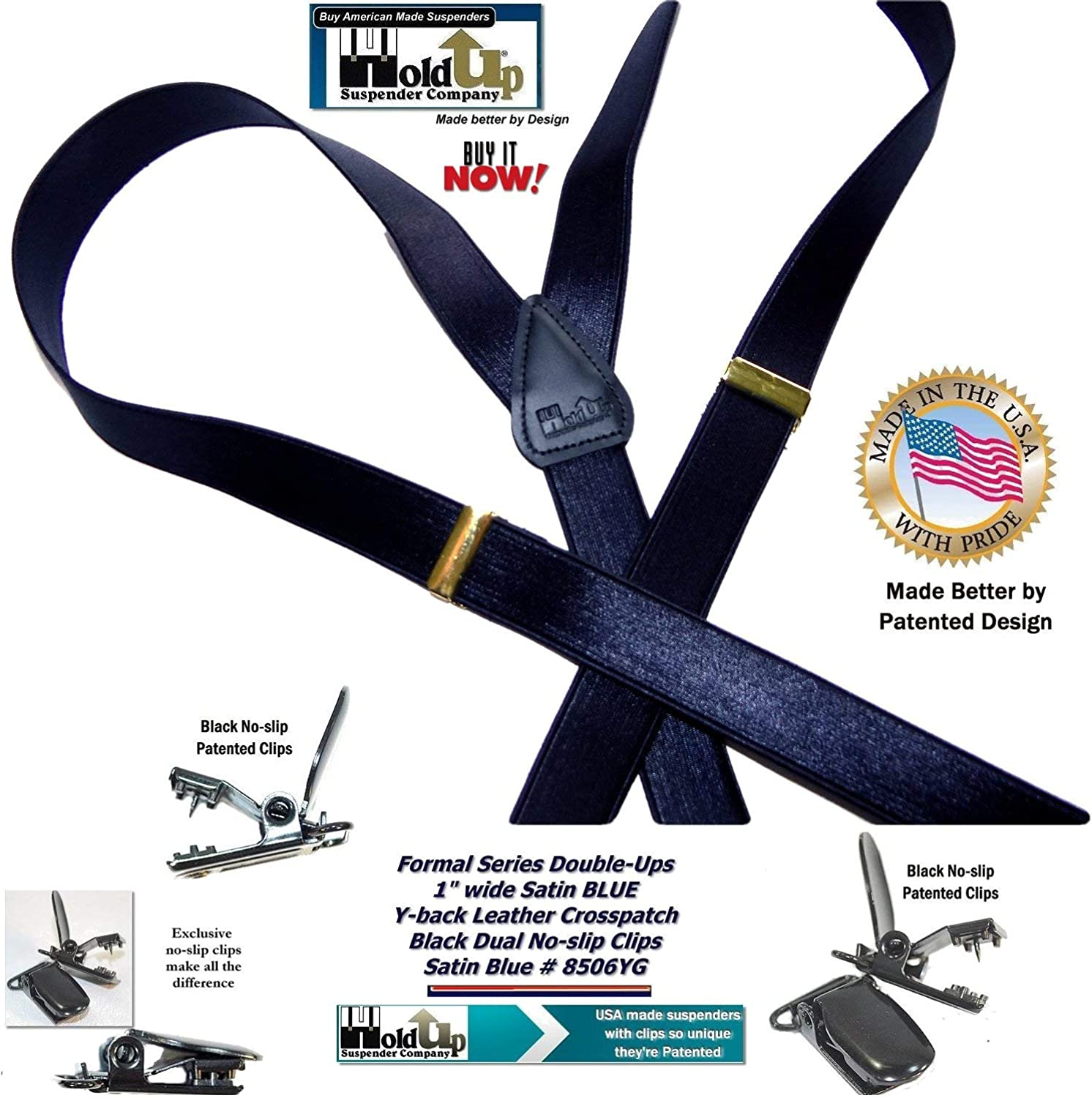 Holdup Brand 1 narrow Deep Satin Blue Double-ups Style Y-back Suspenders with patented dual no-slip clips