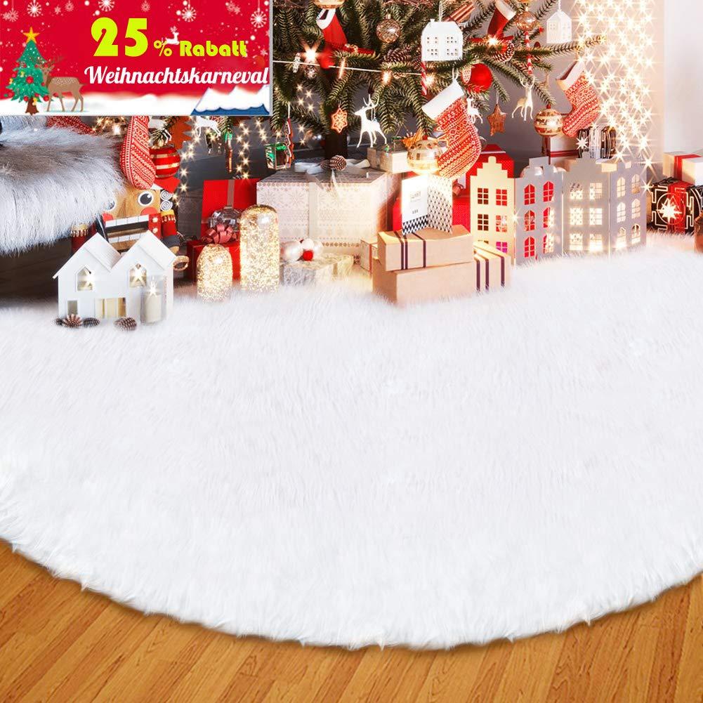 ANLAN 122cm Weißflocke Weihnachtsbaum Decke Weiche Snow Weiß ...