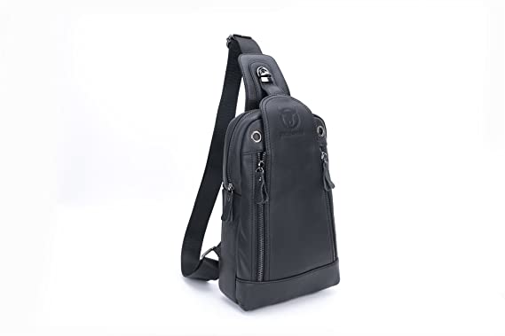 66c9410e5d Men`s Sling Bag Genuine Leather Chest Shoulder Backpack Anti-theft Cross  Body Pack