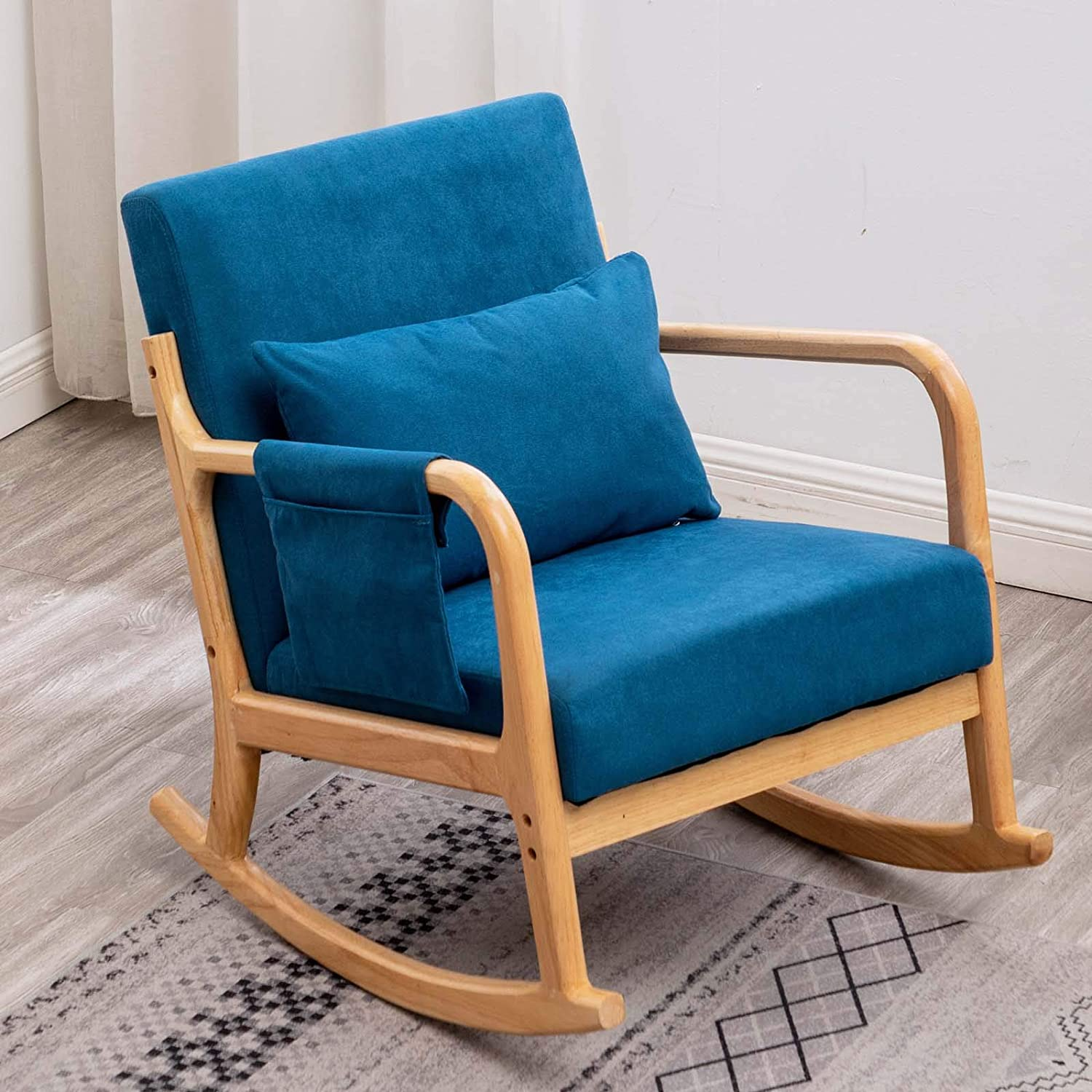Amazon Com Rocking Chair For Nursery Nursery Chair Modern Rocking Chair Nursery Rocking Chairs With Pillow And Side Storage Pocket Blue Kitchen Dining