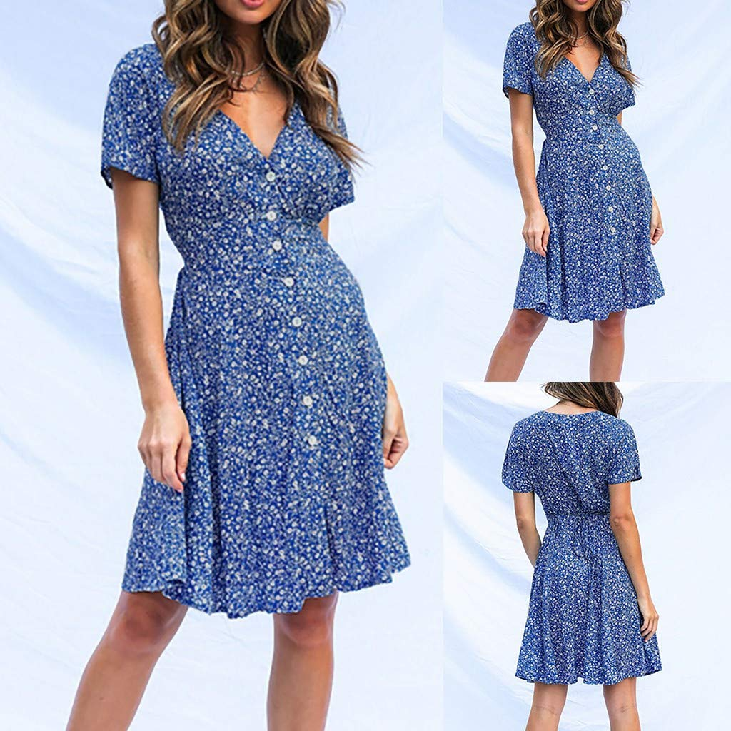 Summer Midi Dresses for Women Short Sleeve Buttons Up V Neck Floral Print Boho Casual A Line Sun Dress Ladies Casual Party Dresses Mumustar,