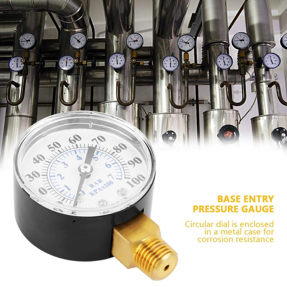 Pressure Gauge Dual Scale Air Gas Water Gauge 0-100psi//0-7bar with 1//4 Inches NPT Bottom Mount for Air Tank Accessory