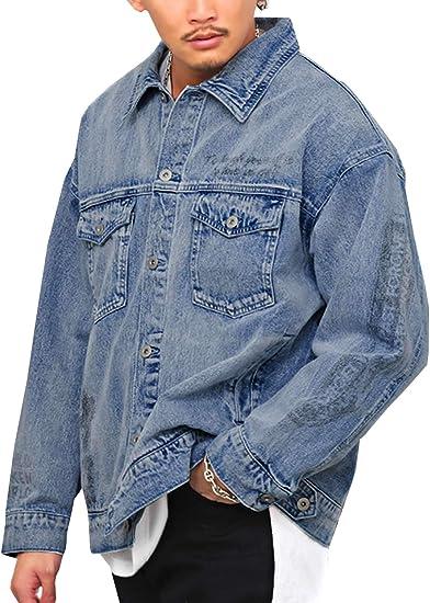 ラグスタイル デニムジャケット メンズ ビッグシルエット フォト ロゴ プリント BIG